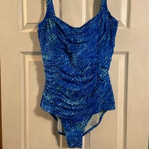 Blue and Turquoise One Piece with Underwire